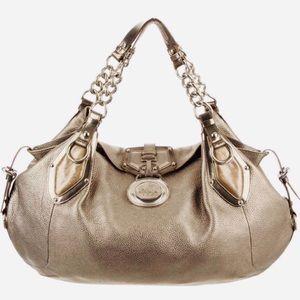 VERSACE Bronze Metallic Large Leather Medusa Bag